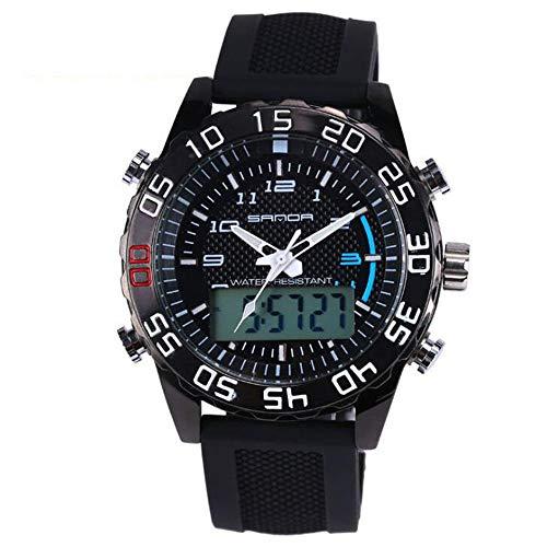 ZSDGY Haojin DREI-Nadel-Uhr, Herren Sport Wasserdichte Mode Persönlichkeit Trend Uhr, Dual Display Leuchtende Elektronische Uhr,C