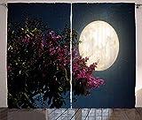 ABAKUHAUS Luna Cortinas, Vía Láctea Noche del Este, Sala de Estar Dormitorio Cortinas Ventana Set de Dos Paños, 280 x 260 cm, Magenta Marfil Dark Blue