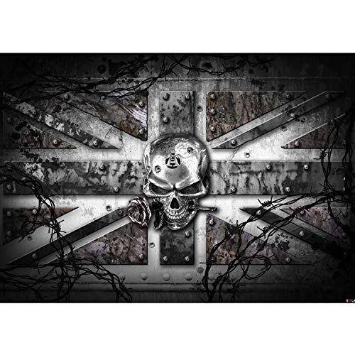 Vlies Fototapete PREMIUM PLUS Wand Foto Tapete Wand Bild Vliestapete - Totenkopf Rose Stachel England Nieten - no. 720, Größe:368x254cm Blueback Papier
