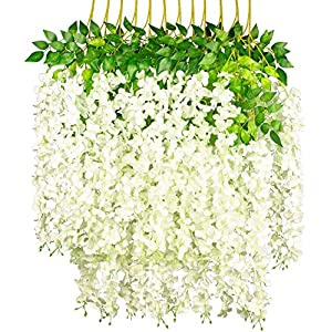 Nisorpa Artificial Wisteria White 24 Pack Fake Silk Flower Strings 3.75 Feet Hanging Faux Plant Garland Vines Ratta with Green Leaf for Home Wedding Party Decor