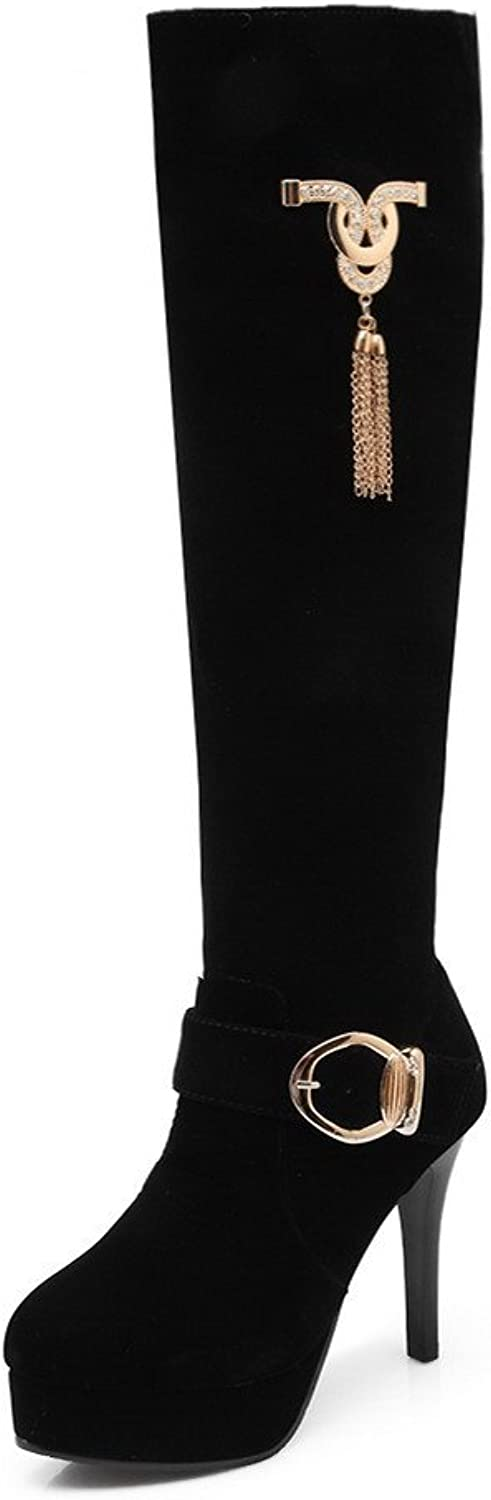 BalaMasa Womens High Heels Knee High Solid PU Knight Boot