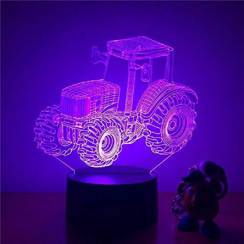 Luz De Noche Led 3D, Gran Neumático, Tractor Agrícola, Figura De Acción, 7 Colores, Lámpara De Mesa De Ilusión Óptica Táctil, Modelo De Decoración Del Hogar