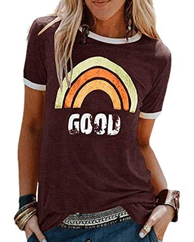 Voqeen Mujer Camiseta de Manga Corta con Cuello Redondo y Estampado Arcoiris para Adolescentes, Camiseta para Niñas, Camisetas con Estampado Cristiano, Blusa de Verano, Camisetas Sin Mangas