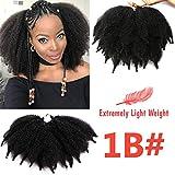 7 Inch Marley Braid Hair 3 Packs Short Mali Bob Crochet Hair Afro Kinky Curly Bomb Crochet Braids Synthetic Braiding Hair (1B#)