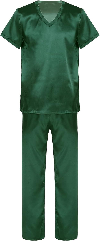 Haitryli Men's Satin Pajamas Set Short Sleeve Pj Set V Neck Sleepwear Loungewear Long Pants &Tops