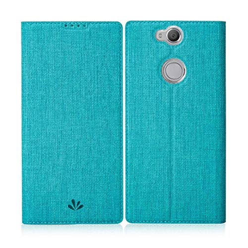 Eastcoo Sony Xperia Xa2 Plus Hülle Schutzhülle Tasche Handyhülle Cover PU Leder Folio Flip Dünn Premium klappbares Book Hülle [Mit Standfunktion][Kartenfach] [Wallet] Für Sony Xperia Xa2 Plus (Blue)