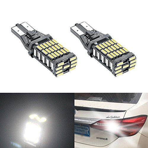 YIJINSHENG 2 Pcs T10 Led Bulb Super Bright 45 SMD 1000Lm 6000K Led Canbus Error Free 912 921 T10 T15 4014 Led Bulbs for Auto Backup Reverse Lights (45D2P) (2)