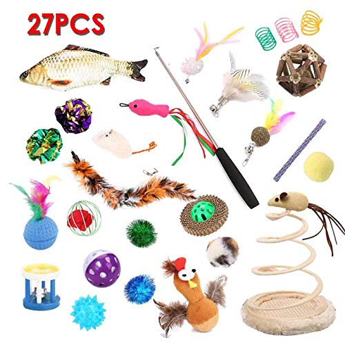26pcs cat Toys Combo 、Cat Feather Teaser、Catnip Fish、Mice、Colorful Balls and Bells for Cat、Variety Catnip Toy Set、Springs Cat Toy、Puppy,Kitty