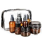 Cizen Juego de Botellas Viaje, Botes Plástico de Spray Prueba Fugas Reutilizable, Botecitos Ámbar para Champús, Cosméticos, Perfumes