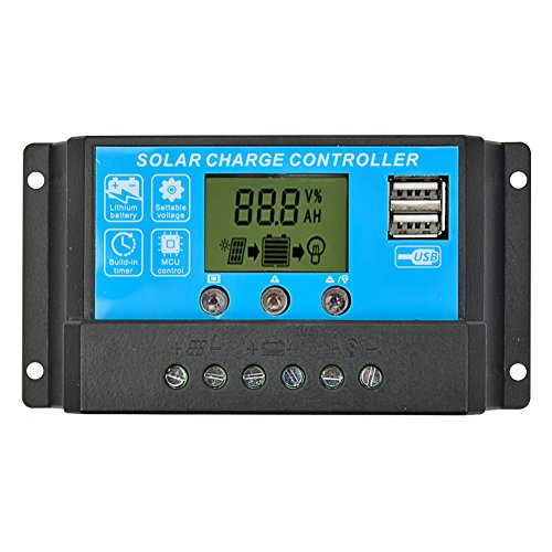 AOSHIKE 15A Solar Charge Controller Solar Panel Charge Regulator Switching Controller with Universal USB Port LCD Display 12V/24V