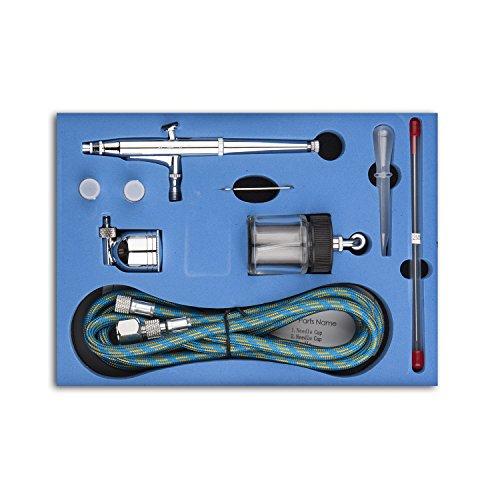 Fy-Light SP134K - Kit aerografo professionale a doppia azione con aghi da 0,2 mm / 0,3 mm / 0,5 mm per tatuaggi, unghie, trucco, torte, strumento per modellare