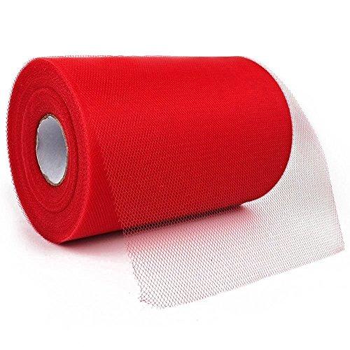 Paor 100 Yardas 15cm de ancho Tela de cinta de tul para la decoración de la fiesta Wraping Craft Bow Girl Tutu Color Verde oscuro/rosa / púrpura Amarillo limón/Azul marino/Blanco (red)