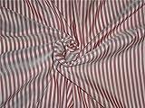 Reine Seide Habotai Streifen rot X Ivory Farbe 80GMS
