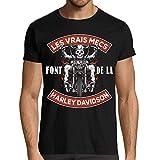 T-Shirt Humour Moto, Les Vrais mecs Font de la Harley, idée Cadeau Motard (L)
