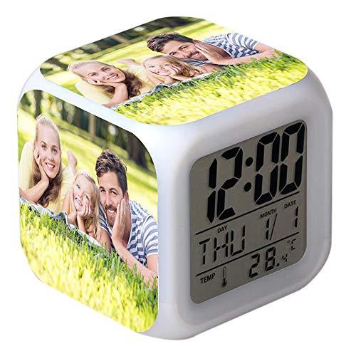 xHxttL Personalisierte 7 Farben LED ändernder digitaler Wecker, Foto Digitale Wecker Nacht leuchtender Würfel LCD-Uhr mit Licht für Kinder Frauen Schlafzimmer Wohnkultur