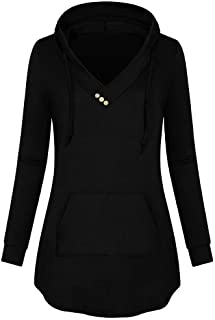 VESNIBA Women's V- Neck Button Lightweight Pullover Hooded Sweatshirt With Pocket Blouse