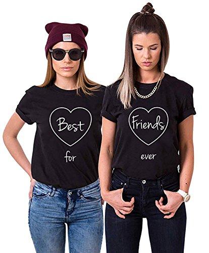 2X Damen T-Shirts - Best Friends for Ever BFF - XS + XS - Schwarz