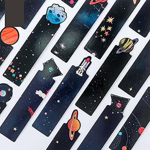 Paper Bookmarks, 30 PCS Cute Bookmarks Can Record Text and Thoughts On The Back, The Best Gift Stationery Bookmarks for Students (Astronomical)