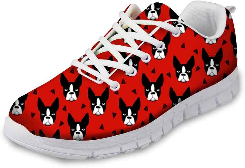 WHEREISART Cute Dog Printing Women Running Sneaker Lightweight Walking Sports Running Go Easy shoes
