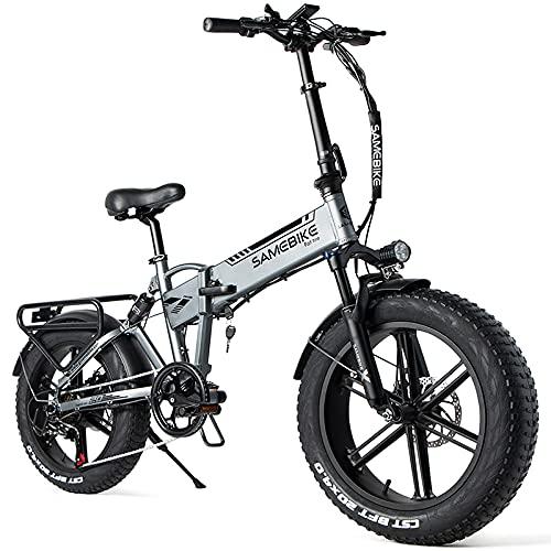 SAMEBIKE Bicicleta Electrica Montaña de 20 Pulgadas 500 W, Bicicleta Eléctrica Plegable...