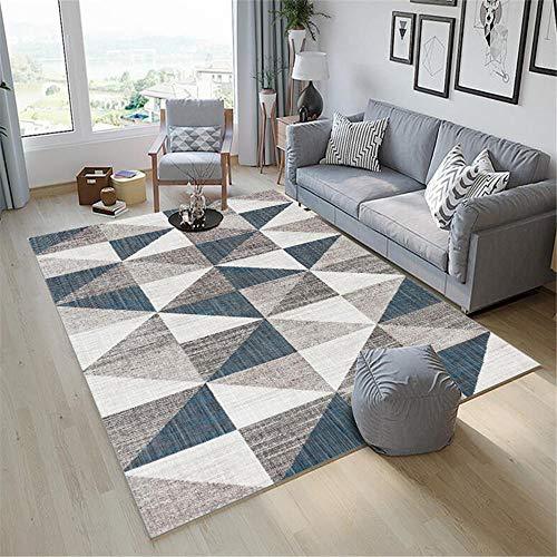 alfombras Juveniles,Alfombra Azul, patrón de triángulo balcón cálido Alfombra antiestática Transpirable ,alfombras Entrada casa Interior -Azul_140x200cm
