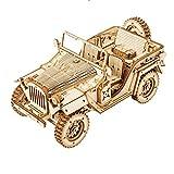 CCCYT Rompecabezas 3D de Madera Jeep Militar Puzzle Cortado con Láser Juego de Construcción Mecánica Regalo Creativo para Niños y Adultos(369 PCS)