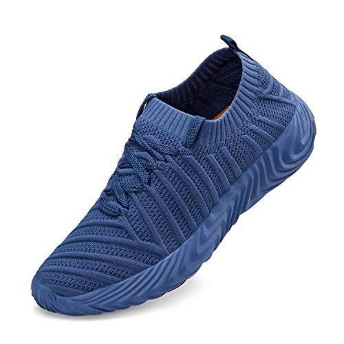 Feetmat - Zapatos para correr para mujer, antideslizantes, ligeros, con cordones, Gris, 5.5