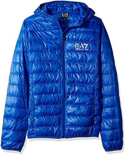Emporio Armani EA7 Men's Train Core ID Down Light Hoodie Jacket, Royal Blue, X-Large
