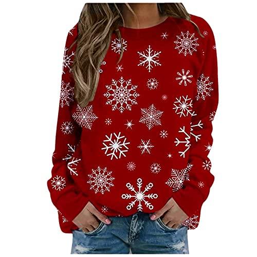 VEMOW Camisetas Blusas de Manga Larga Suelto para Mujer Otoño Invierno Sudadera Navidad Reno Jersey Sudaderas Divertido Estampado de Navideño Pullover Chica Casual Tops Talla Grande (E Red, M)
