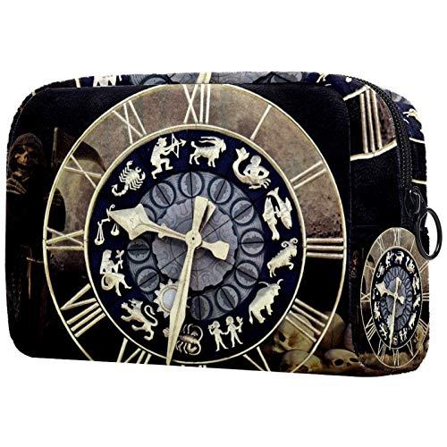 Neceser de viaje grande para mujer, neceser de viaje y neceser de maquillaje con muchos bolsillos, reloj Time Fate