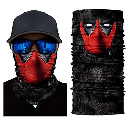 unbrand Camo Face Mask Breathable Seamless Tube Dust-Proof Windproof UV Bicycle ATV Face Mask for Motorcycling Cycling Hiking Camping Climbing Fishing Hunting (Deadpool-02)