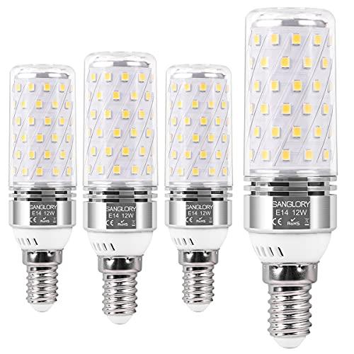 SanGlory E14 LED Lampadine Bianco Neutro 4000K, 12W Equivalente a Alogeno 100W, 1350LM , E14 Mais lampade Non Dimmerabile Lampadine a Candela, Pacco da 4 (E14 Neutro 4000K)
