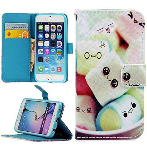 Handy Lux® Schutz Hülle Tasche Kartenfächer Flip Case Etui Cover Involto Motiv Design Hülle BookStyle für Huawei P8 Lite (Modell 2015), Marshmallows
