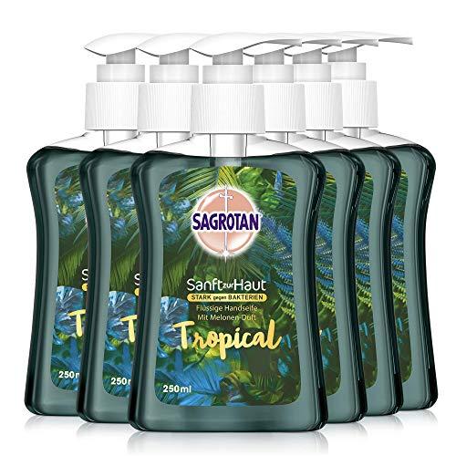 Sagrotan Handseife Tropical Edition – Antibakterielle Flüssigseife – 6 x 250 ml Seifenspender im praktischen Vorteilspack