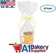 9 x 20 inch Clear Cellophane Bags High Quality Gift Wrap Cellophane Bags Preimum Quality Bags Made in USA - 25 Pack 1.2 MIL by A1BakerySupplies