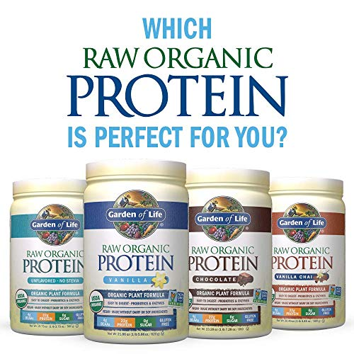 Garden of Life Raw Organic Protein Vanilla Powder, 20 Servings: Certified Vegan, Gluten Free, Organic, Non-GMO, Plant Based Sugar Free Protein Shake With Probiotics