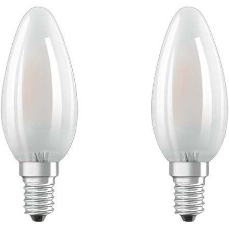 Osram Lot de 2 Ampoules LED à Filament Dépolies   Culot E14   Forme Flamme   Blanc Chaud 2700K   4W (équivalent 40W)