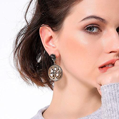 Individuele Delicate Oorbellen, Creatieve Gouden Munt met Diamant Parel Oorstekers Vrouwelijke Europese en Amerikaanse Retro Stijl Temperament Oorbellen, Thumby