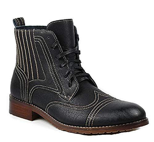 Ferro Aldo Men's 806011 Lace-Up Perforated Wing Tip Military Fashion Dress Boots, Black, 9.5