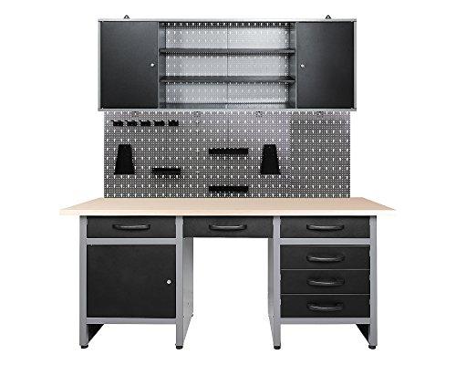 Ondis24 Werkstatteinrichtung 160cm, Werkstatt - Werkbank, Hängeschrank, Euro - Lochwand mit Haken