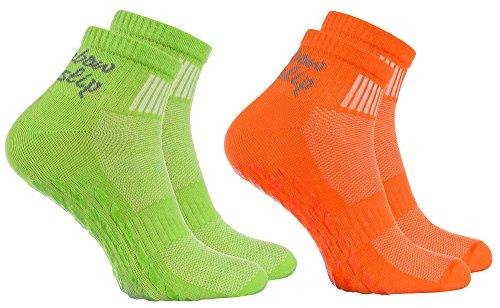 Rainbow Socks - Donna Uomo Sportive Calze Antiscivolo ABS di Cotone - 2 Paia - Naranja Verde - Tamaño 39-41