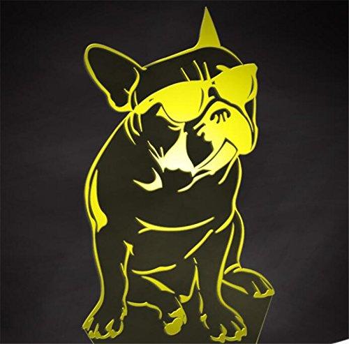 Jinson well 3d Bulldog Frances El perro lámpara de mesa luz nocturna cambio de 7 colores LED luz de noche para Decor Regalo