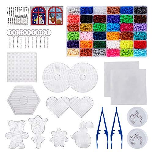 PandaHall Kit de Cuentas de Fusible, 36 Colores, 5 mm, 540 g, Cuentas de Hierro para niños, con 8 Formas, tableros de plástico, 50 Anillos de Salto, Llavero, Correas, Pinzas, Tarjetas de Papel