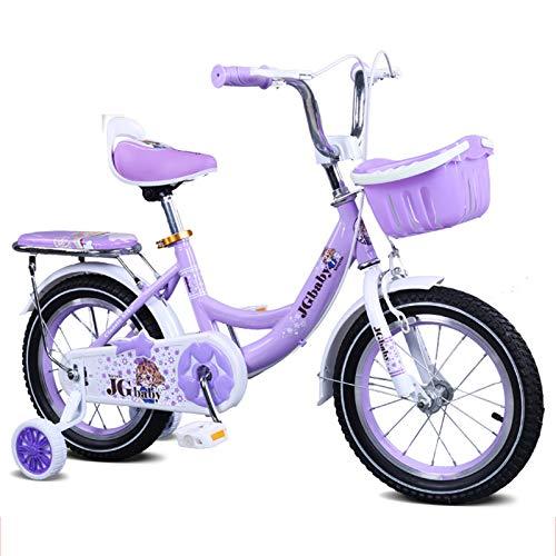 SJSF Y Bicicleta De 18 Pulgadas para Niñas Y Niños, De 5 A 8 Años, Bicicleta De Equilibrio BMX, Bicicletas para Niños, Ruedas De Entrenamiento, Llantas Neumáticas, Bicicleta para Damas De Ciudad,Azul