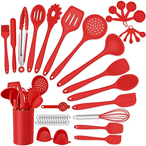 Homikit 42 Pieces Red Cooking Utensils Set with Holder, Silicone Kitchen Gadgets Tools for Nonstick Cookware, Heat Resistant Utensil Spatula Spoon Turner Skimmer, Dishwasher Safe