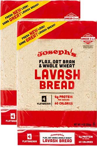 Joseph's Lavash Bread Flax Oat Bran & Whole Wheat Reduced Carb - Plus New Ridiculously Delicious Lavash Bread Recipes! (2 Pack)