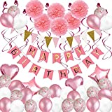 Birthday Decorations, 79 pcs Balloons Party Decoration for Girl Women with Pink Happy Birthday Banner Tissue Paper Flowers Hanging Swirls for Birthday Party Supplies