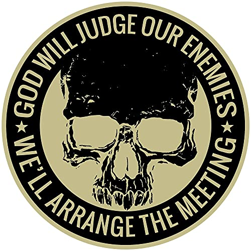 GOD WILL JUDGE OUR ENEMIES WE'LL ARRANGE THE MEETING PATCH - High Thread Heat Sealed Backing Sew Iron On Patch - 9