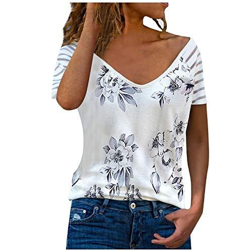 XOXSION Camiseta de verano para mujer, parte superior de rayas, estampado de flores, cuello en V, manga corta, estilo primavera A blanco. XL