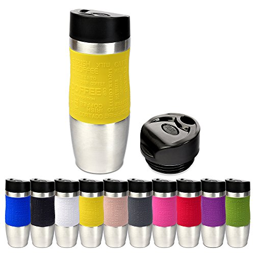 Schramm® Thermobecher in 10 Farben inkl. Ersatzdeckel Isolierbecher ca. 400ml Thermoisolierbecher Kaffeebecher Travel Mug Reisebecher BPA-frei Coffee to go Becher, Farbe:Gelb